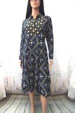 Closet Navy blue long sleeve printed shirt dress size UK 10 RRP £56 BNWT