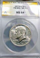 1972-D Kennedy Half Dollar NO FG ANACS MS64 CHERRYPICKERS GUIDE FS-901 *RARE*