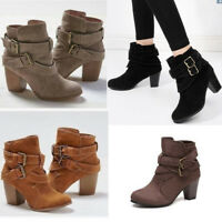 Women Ankle Boots Mid Block Heel Pointed Toe Casual Strappy Buckle Martin Shoes