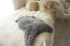 Genuine Natural Grey Sheepskin Rug, Pelt, long fur GRAY