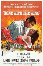 VINTAGE GONE WITH THE WIND CLARKE GABLE MOVIE POSTER A4 PRINT