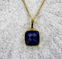 Faceted Lapis Lazuli Gemstone Pendant Necklace in 14KT. Gold Plate