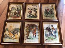 More details for set of 6 frank reynolds golfers framed tiles