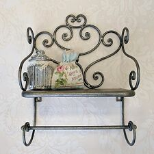 Ornate Iron Rack with Towel Rail Shelves Bathroom Vintage Industrial Style