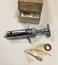 Vintage WIMCO 10cc Metal Veterinary Syringe Old Vet Medical Instrument