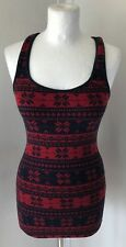 JACK WILLS Red And Navy Blue Fair isle Print Stretchy Xmas PJ Vest Top Size 8
