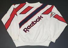 Reebok VTG 80s All over Print Spell Out Big Logo White Red Blue Sweatshirt Men L