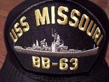 USS MISSOURI BB-63 U.S NAVY SHIP HAT OFFICIAL U.S MILITARY BALL CAP U.S.A MADE
