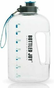 Large Sports Water Bottle 1 Gallon Exercise Gym Camp Hydration with Timemarker