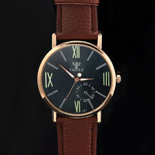 New Male Men Stainless Steel Brown Leather Noctilucent Quartz Wristwatch Watch