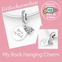 New Authentic Genuine PANDORA Sterling Silver My Rock Hanging Charm - 798102CZ