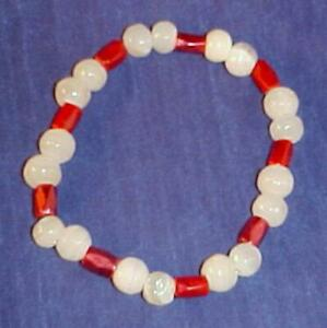 Red Hematite & White Onyx Handctafted Beaded Stretch Bracelet 8 Inches