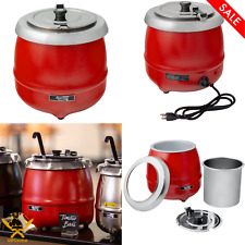 11 Qt Round Red Countertop Food Soup Kettle Warmer Commercial Soup 120v 400w