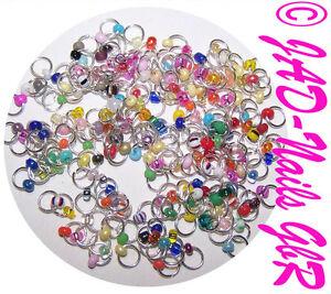 30 Nagelpiercings Nagel-Piercing Nailart silberfarben bunte Perle Mix