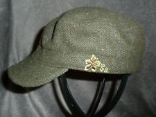 SHRED ALERT Women One Size Hat Olive Green Weave Embroidered Flower Military Cap