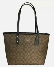 New Coach F31974 City zip Tote Coated Canvas & Leather handbag Khaki / Oxblood