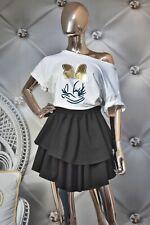 damen Baumwolle Zweiteiler Rock Tshirt Baumwolle Set Sommer Minirock Basic S M L