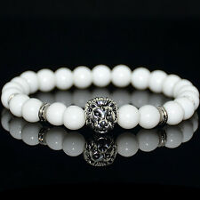 Fashion Men's White Coral Silver Lion Head Beaded Yogo Stretch Bracelet
