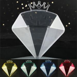 Plastic Transparent Diamond Crown Shape Wedding Birthday Party Candy Boxes Decor