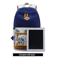 Women Canvas Leather Backpack Floral Rucksack Travel College Shoulder School Bag