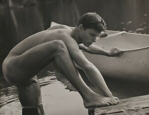 1989 Vintage BRUCE WEBER Young Nude Male ROB Canoe Docking River Photo Art 11X14