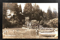 Vintage Real Photo Postcard Rio Nido California Russian River Swimming Boat RPPC