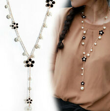 RFC BLACK Flower & Simulated Pearl Gold Plated Chain Pendant Statement Necklace