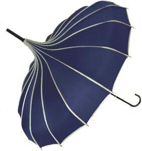 SOAKE Ladies Navy Blue Umbrella Fashion Brolly Pagoda Shape Polka Dot Trim