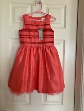 New Gymboree Girls 5 Enchanted Coral Sequin Dress Special Occasion Tulle Hem