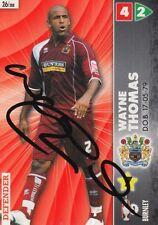 WAYNE THOMAS HAND SIGNED BURNLEY 2007 PANINI CHAMPIONSHIP CARD.