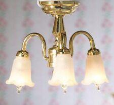 Dollhouse Miniature Chandelier Hanging Tulip 3 Arm Candle 1:12 Scale 12 Volt