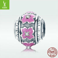 Real S925 Sterling Silver Charm Bead Pink Flower Enamel Jewelry For Bracelet