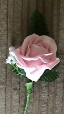 Wedding Flowers 12 x Vintage Pink  Rose Buttonhole's with Fern & Gypsophilia