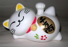 SOLAR POWERED WAVING LUCKY CAT MANEKI NEKO  - GOOD FORTUNE & PROSPERITY