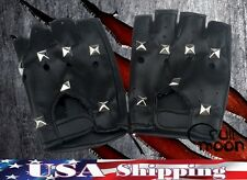 New Studded Fingerless Biker Punk Goth Driving Faux Leather Gloves