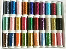 30 Metallic Embroidery Threads Spools 30 different Colors 200 Mtrs Bargain Price