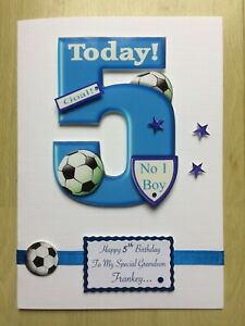 Luxury Hand-Made Little Boys 5th Birthday Card -Can be Personalised