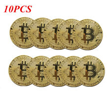 10pcs Round Gold Plated Bitcoin Coin Miner Golden BTC Coin Art Collectible Gift