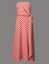 M & S Autograph Ladies red and white stripe dress size 14