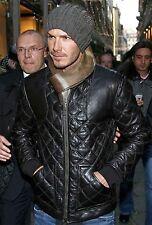 Celebrity Inspired David Beckham Diamond Quilted Biker Black Leather Jacket Mens