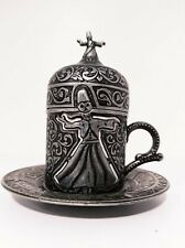 Traditional Turkish Handmade Coffee Cup Saucer Cover Espresso Ottoman Brass Gift