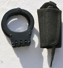 Black Tactical Steel Hinged Handcuffs Double-Locking With Pen-Style Key & Holder
