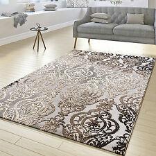 Teppich Wohnzimmer Abstrakt Ornament Muster Kurzflor Meliert Grau Beige
