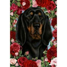 Roses Garden Flag - Black and Tan Coonhound 194021