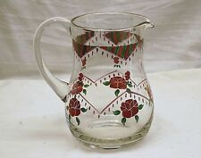 Vintage Clear Glass Pitcher w Hand Painted Red Roses & Green Abstract Design MCM