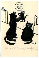 dessin original signé Mateja encre et crayonné annoté chats noirs et Chaton lune