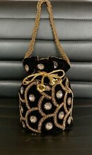 Designer Black Potli Bag Drawstring Velvet Pouch Indian Wedding Crystal Clutch