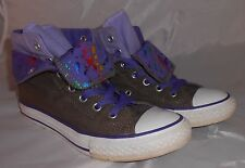 Converse Kid's All Star Gray/Purple Fold Over HiTop Size 2 Sneakers Double Upper