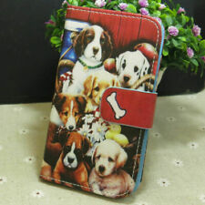 1x Cute Dog Group Wallet Card Slots Holder Flip TPU Case Cover for Smart Phone