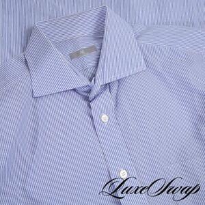 #1 MENSWEAR RECENT Ascot Chang Blue White Bengal Stripe Lightweight Shirt 15 34